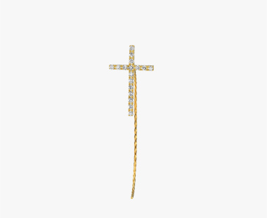 【SJX W】DIAMOND CROSS PIERCED EARRING(L), , medium