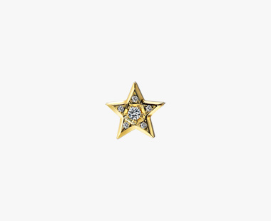 DIAMOND STAR PIERCED EARRING, , medium
