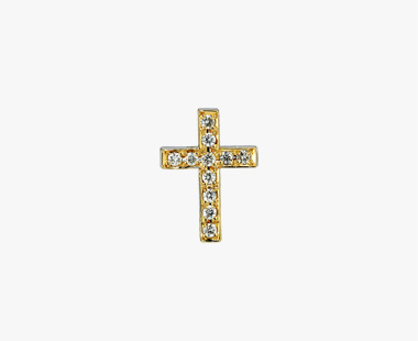 DIAMOND CROSS PIERCED EARRING, , medium