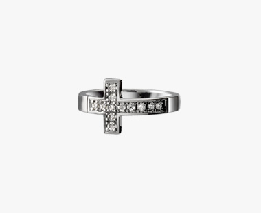 DIAMOND CROSS RING, , medium