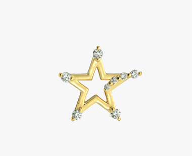 【SJX W】DIAMOND STAR PIERCED EARRING, , medium