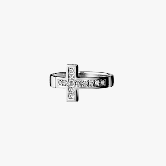 DIAMOND CROSS RING, , small
