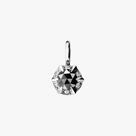 ROSE CUT BLACK DIAMOND CHARM, , small