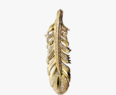 DIAMOND FEATHER CHARM, , medium