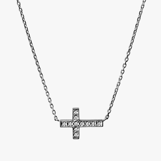 DIAMOND CROSS NECKLACE, , small