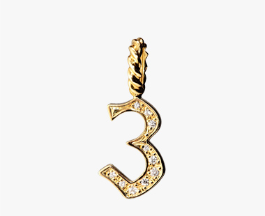 DIAMOND NUMBER CHARM(3), , medium