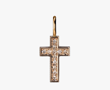 BROWN DIAMOND CROSS CHARM, , medium