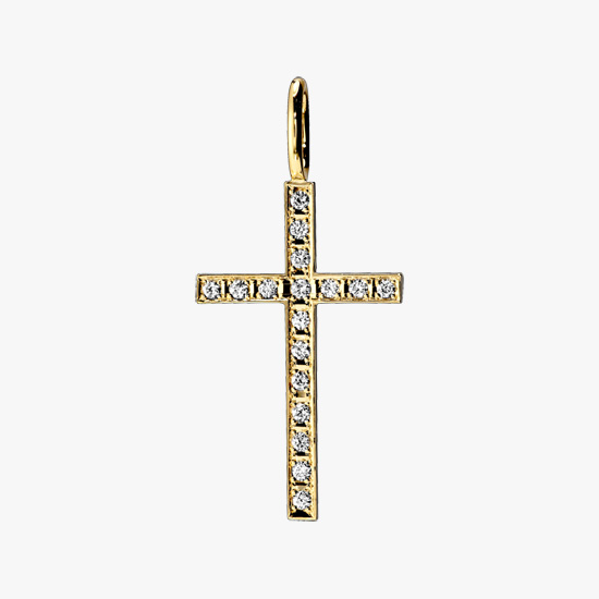 DIAMOND CROSS CHARM, , small