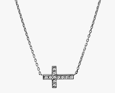 DIAMOND CROSS NECKLACE, , medium