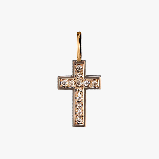 BROWN DIAMOND CROSS CHARM, , small