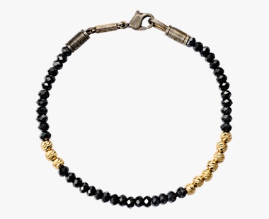 BLACK & GOLD GLITTER BRACELET, , medium