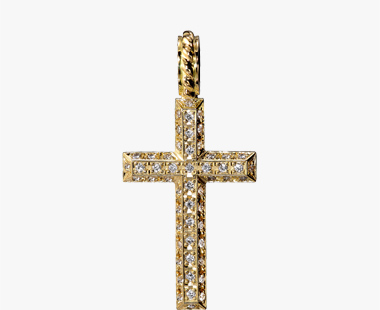 DIAMOND CROSS CHARM, , medium