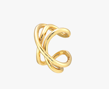 【SJX W】LINE KNOT EAR CUFF, , medium