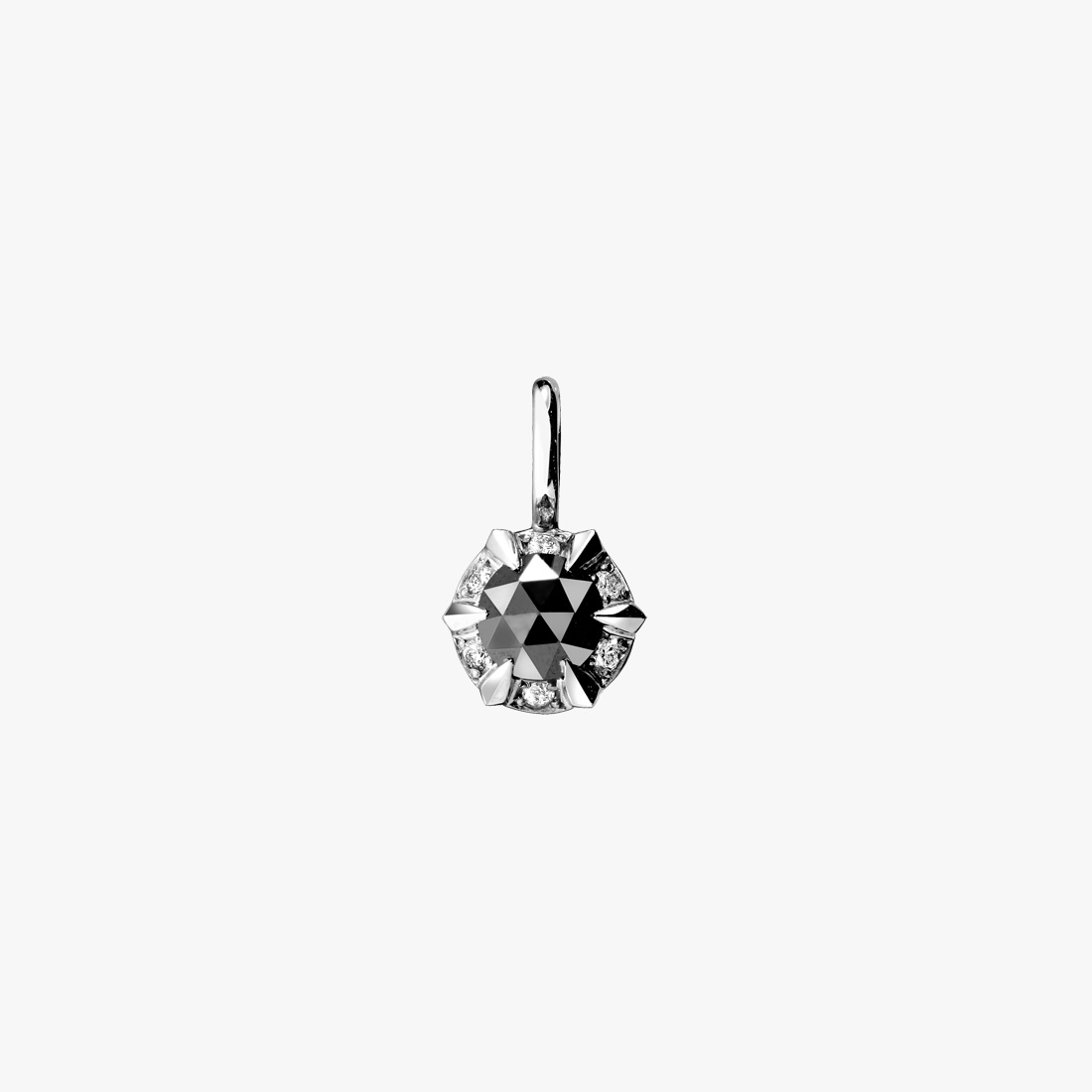 ROSE CUT BLACK DIAMOND CHARM, , large